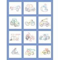 """Stamped Baby Quilt Blocks 9""""X9"""" 12/Pkg-Toy Vehicle"""