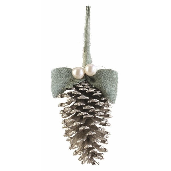 "4.75"" Silent Luxury Vintage Pine Cone, Pearl and Burlap Christmas Ornament - green"