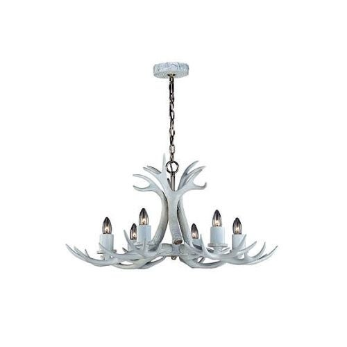 Vaxcel Lighting H0159 Vail 6 Light Single Tier Chandelier with Antlers