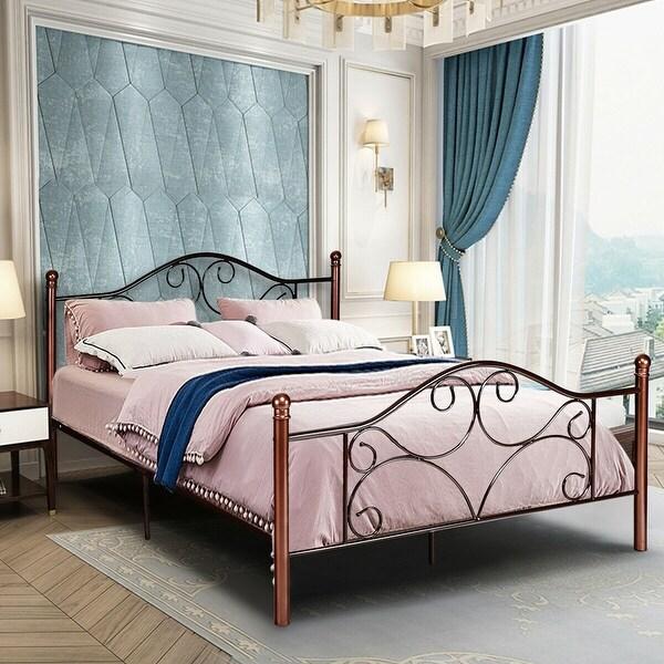 Queen Size Durable Bed Platform Steel Frame Bedroom Stable Metal Slats