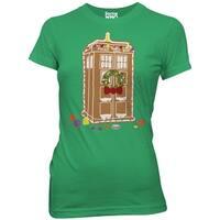 Doctor Who Gingerbread TARDIS Juniors Green T-Shirt