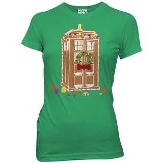 Doctor Who Gingerbread TARDIS Juniors Green T-Shirt