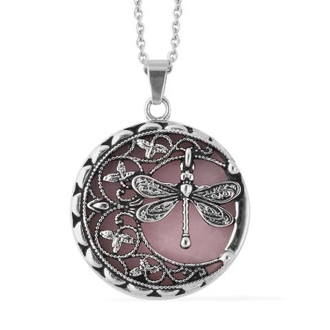 Galilea Rose Quartz Oxidized Dragonfly Necklace Pendant 20 inch - Size 20''