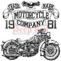 """Deep Red Cling Stamp 3""""X3""""-Motorcycle Logo"""