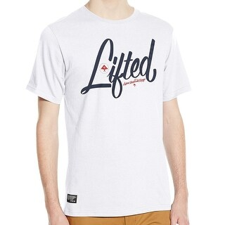 LRG NEW White Mens Size Small S Lifted Logo Printed Tee Crewneck T-Shirt