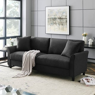 Link to Upholstered 85 Inch Sofa Couch, Modern Linen Fabric Couch for Small Space Similar Items in Sofas & Couches