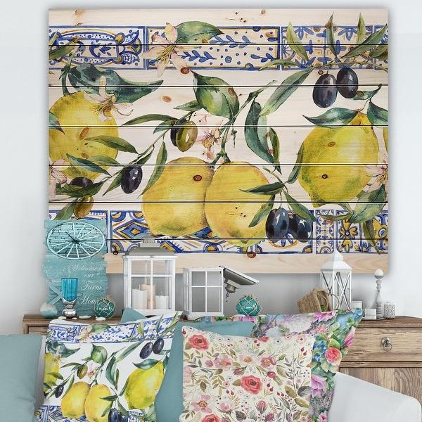 Designart 'Lemon Ornament On Blue Geometrical Pattern II' Tropical Print on Natural Pine Wood. Opens flyout.
