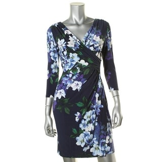 Lauren Ralph Lauren Womens Petites Floral Print Long Sleeve Casual Dress