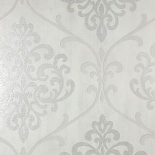 Brewster 2542-20717 Ambrosia Silver Glitter Damask Wallpaper - N/A