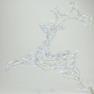 "33"" LED Lighted Running Buck Deer Spun Glass Christmas Yard Art Decoration - Polar White Lights"