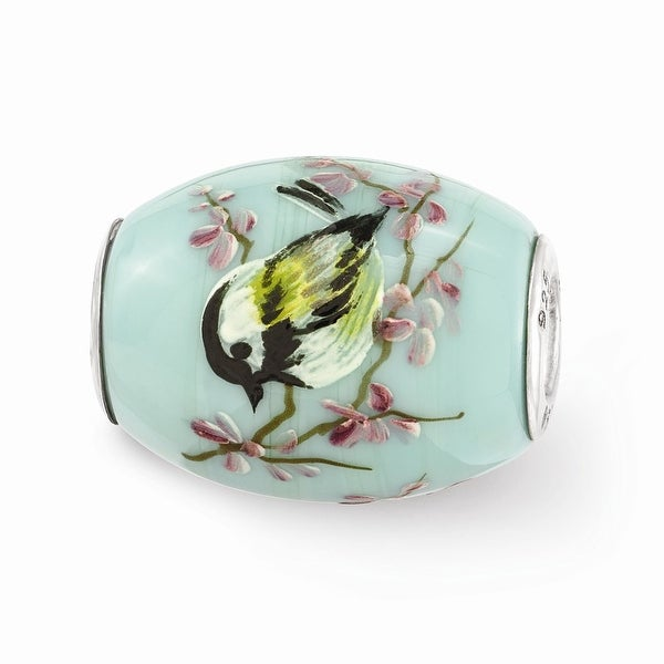 Sterling Silver Reflections Hand Painted Chickadee Floral Glass Bead
