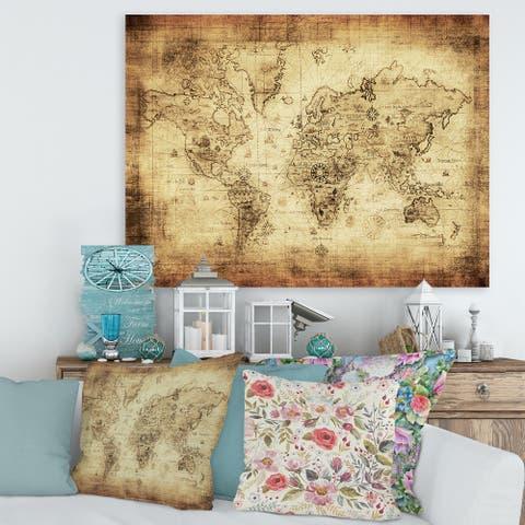 Designart 'Ancient Map of The World IV' Vintage Canvas Wall Art Print