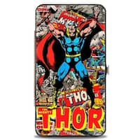 Marvel Comics The Mighty Thor Pose Stacked Retro Comics Hinged Wallet - One Size Fits most