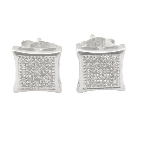Fabulous Round Brilliant Cut Natural Diamond Square Shaped Push Back Stud Earring