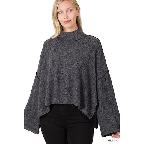 JED Women's Bell Sleeve High Low Mock Neck Sweater Top