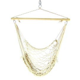 Sunnydaze Cotton Rope Hammock Chair with Wood Spreader Bar