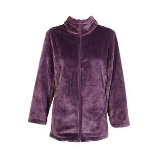 Ideology Plus Size Purple Lux Full Zipper Closure Collared Fleece Jacket 2X