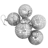 "6ct Silver Splendor Mirrored Glass Disco Ball Christmas Ornaments 3.25"" (80mm)"