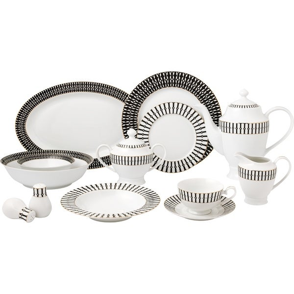57 Piece Black and White Dinnerware Set-New Bone China Service for 8 People. Opens flyout.