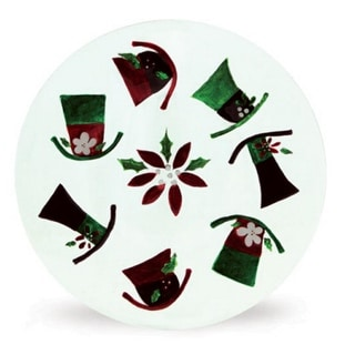"""Pack of 4 White Glass Christmas Serving Plates with Top Hat & Flower Design 13"""""""