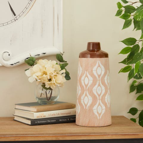 Tan Porcelain Traditional Vase 12 x 5 x 5 - 5 x 5 x 12