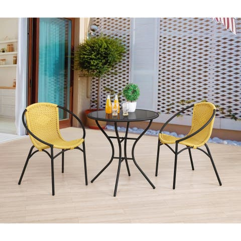"Parven All-Weather Outdoor Bistro Set w/ 2 Papasan Chairs & 29""H Table - Standard"