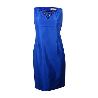 Kasper Women's Shimmer Beaded Neckline Sheath Dress - Electric Blue