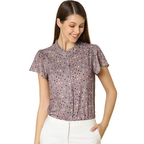 Women's Dot Print Ruffle Sleeve Button Up Blouse Top