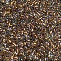 Toho Round Seed Beads 11/0 262 'Crystal/Gold Lined' 8 Gram Tube