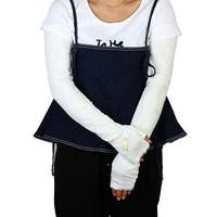 Ladies Travel Summer Driving Bowknot Decor Sun Resistant Arm Sleeves White Pair
