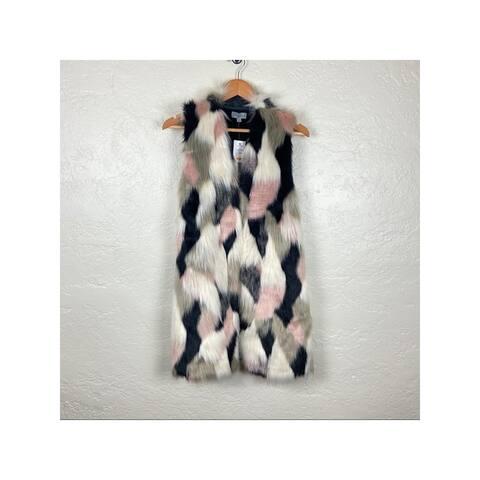 JOSEPH A Womens Black Printed Evening Coat Size 1X