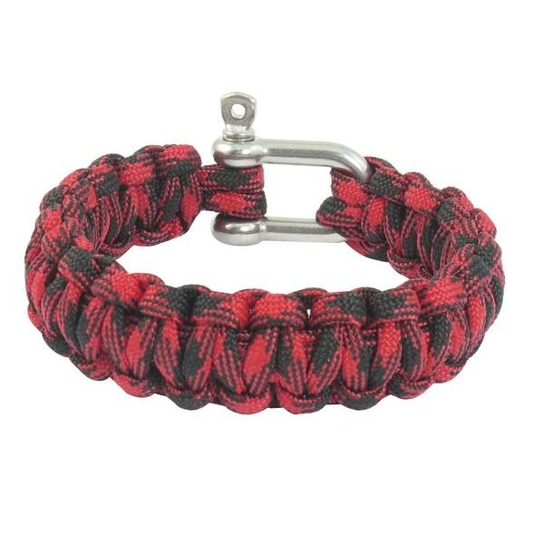 Unique Bargains Unique Bargains Outdoor Sports Stainless Steel Cobra Weave Nylon Survival Bracelet