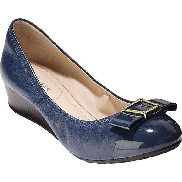 ff615e0f1d Cole Haan Women's Emory 40mm Bow Wedge II Pump Marine Blue Leather