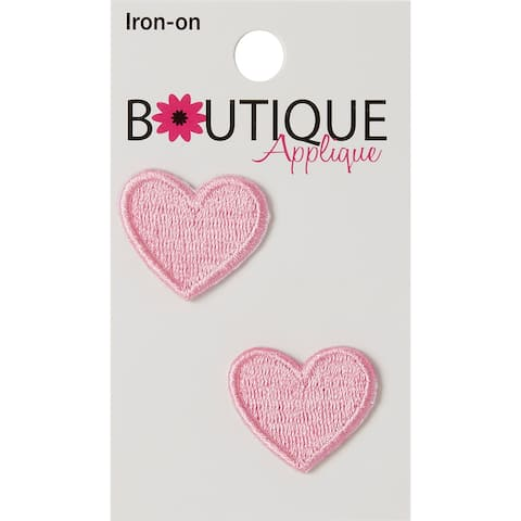 Iron-On Appliques-Pink Hearts 2/Pkg - Pink