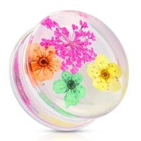 Pink Dried Flower Clear Acrylic Saddle Fit Plug (Sold Individually)