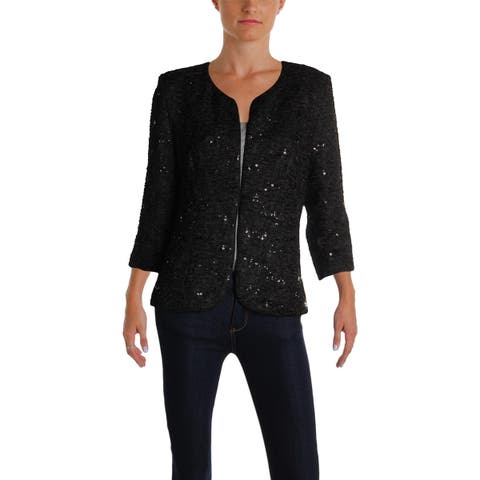 Alex Evenings Womens Collarless Blazer Textured Sequined