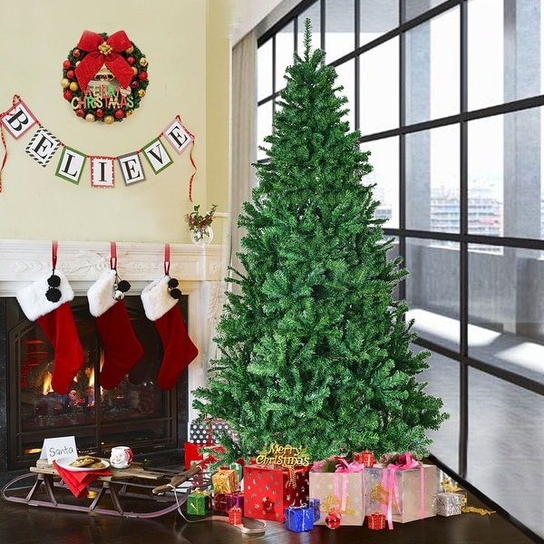 Costway 7' PVC Artificial Christmas Tree Premium Hinged w/ Solid Metal Legs 1200 Tips