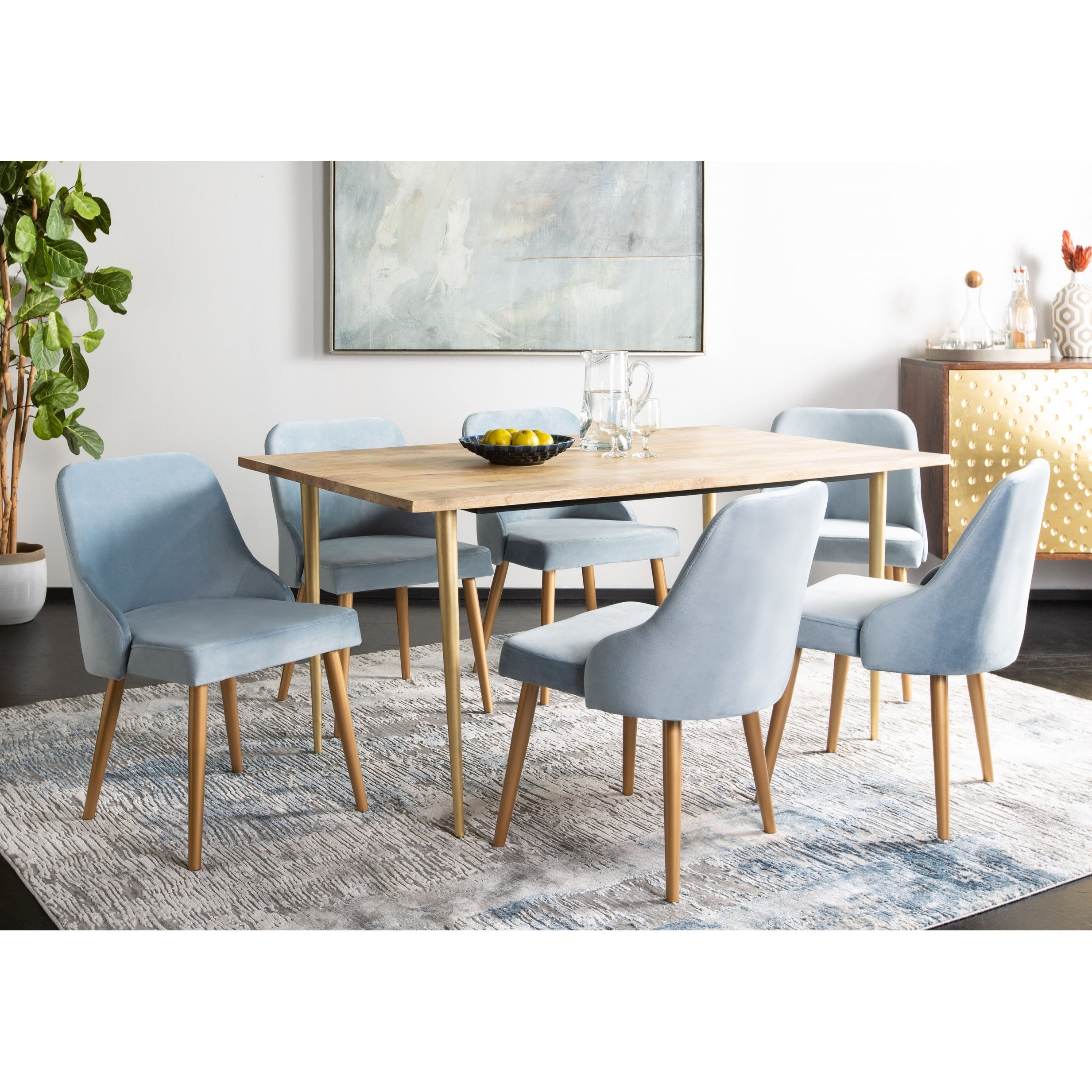 Picture of: Safavieh 18 3 Lulu Upholstered Dining Chair Slate Blue Gold Set Of 2 21 X 22 X 31 Overstock 22363470
