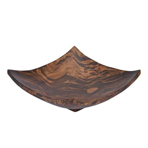 Handmade Stylish Square Shaped Mango Tree Wood with Dark Stain Serving Dish or Fruit Bowl (Thailand)