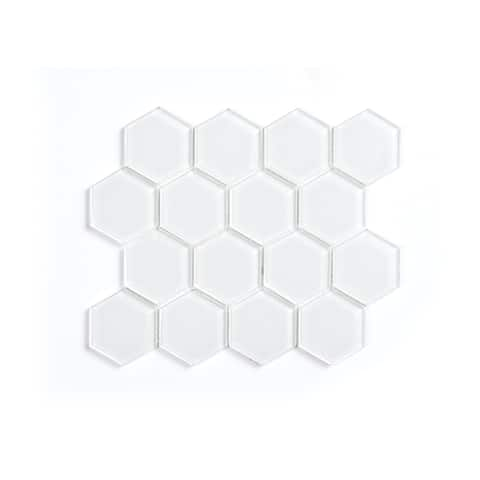 NewAge Products Super White Glass Hexagon Tile