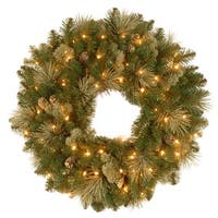 "24"" Pre-Lit Carolina Pine Christmas Wreath with Battery Operated LED Lights"
