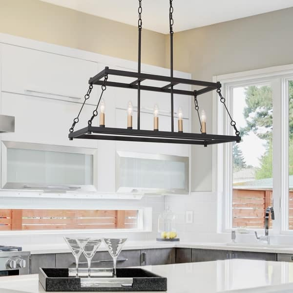 Modern 5 Light Candle Linear Chandelier Island Pendant Lighting For Kitchen Island L30 Xw12 Xh23 6 Overstock 32221763