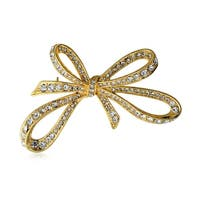 Bling Jewelry Gold Plated Pave Crystal Ribbon Brooch Large Bow Pin