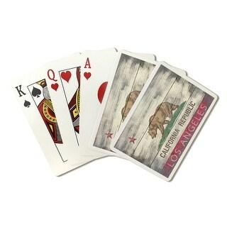 Los Angeles, California - Rustic California State Flag - Lantern Press Artwork (Poker Playing Cards Deck)