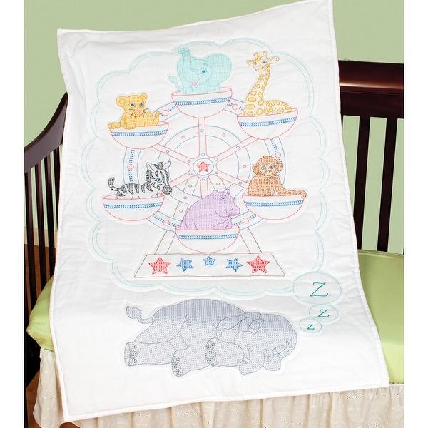 "Stamped White Quilt Crib Top 40""X60""-Ferris Wheel"