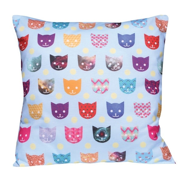 "Throw Pillow - Colorful Critters Cats Bright Kittens - 14"" X 14"""