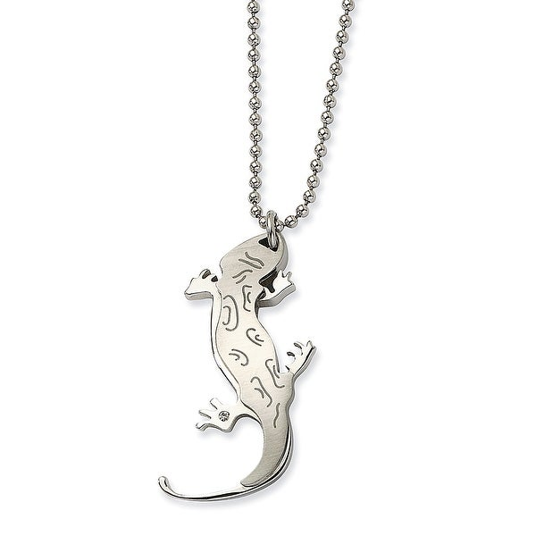 Chisel Stainless Steel Lizard with CZ 22 Inch Necklace (1 mm) - 22 in