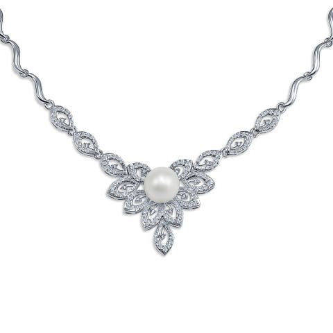 Vintage Style Statement V Necklace Leaf CZ White Imitation Pearl