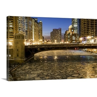 """""""Chicago River at Dusk"""" Canvas Wall Art"""