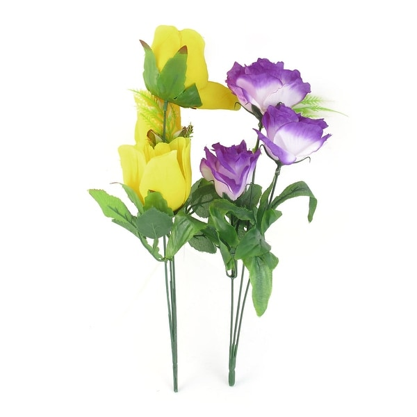 Shop unique bargains 2pcs artificial emulational green leaf yellow unique bargains 2pcs artificial emulational green leaf yellow purple flower bouquet 156 high mightylinksfo